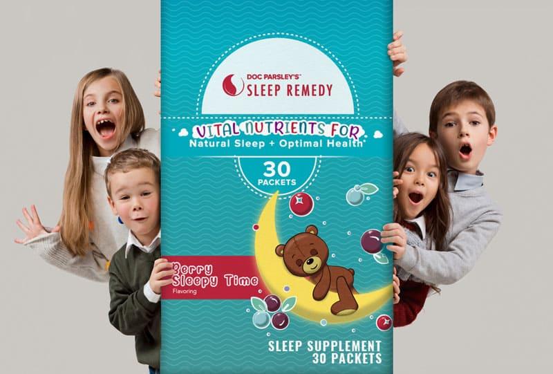 Doc Parsley's sleep remedy packaging, vital nutrients for natural sleep + optimal health, 30 packets, berry sleepy time flavoring, sleep supplement